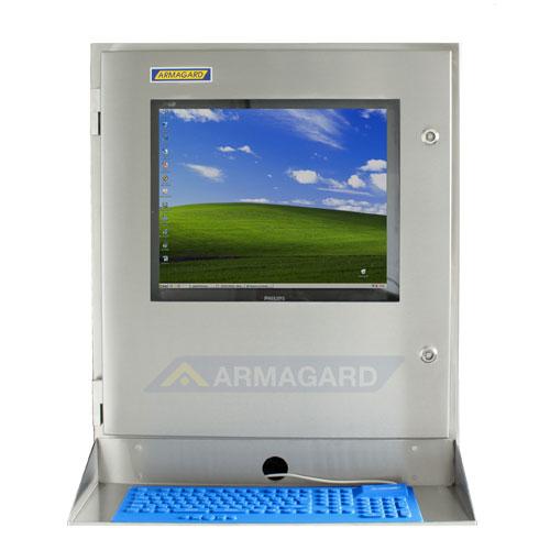 Водонепроницаемый узкий компьютерный корпус SENC-700 - вид спереди с лотком для клавиатуры и клавиатурой